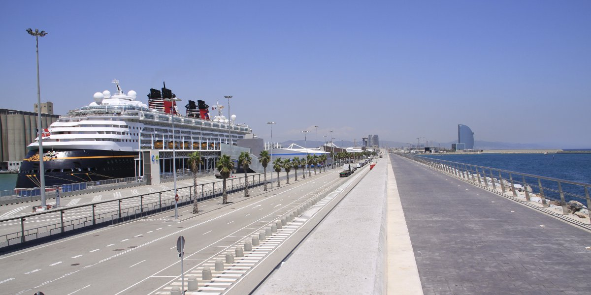 Cruise ship dock in Barcelona port